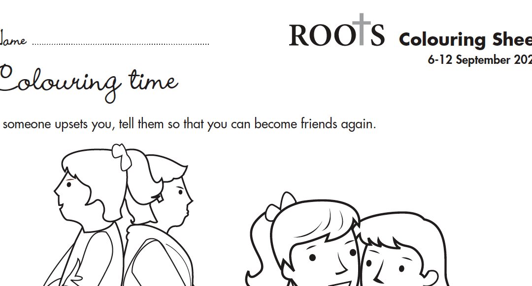Roots Children's Colouring Sheet 6th Sept