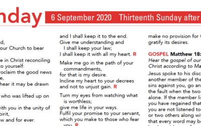 Liturgy Pew Sheet for Sunday 6th Sept