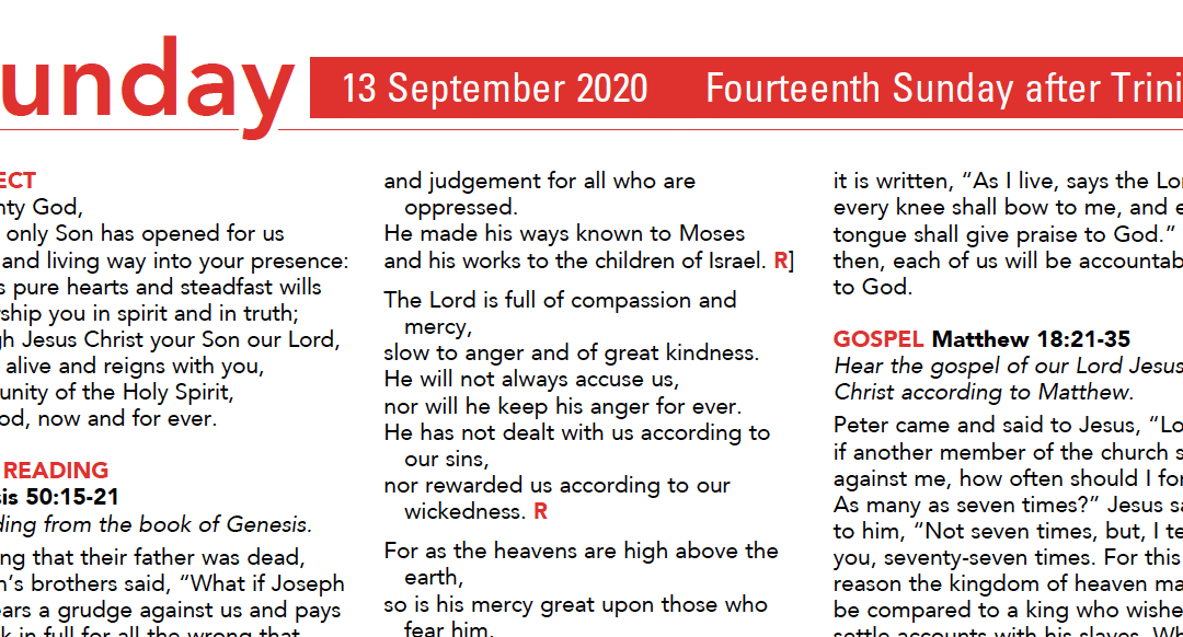 Liturgy Pew Sheet for Sunday 13th Sept