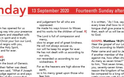 Liturgy Pew Sheet for Sunday 13th Sept