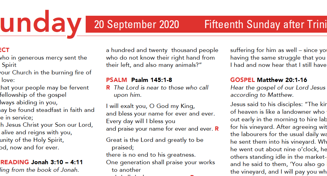 Liturgy Pew Sheet for Sunday 20th Sept