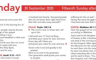 Liturgy Pew Sheet for Sunday 20th Sept