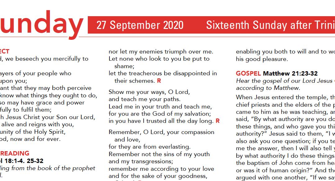 Liturgy Pew Sheet for Sunday 27th Sept