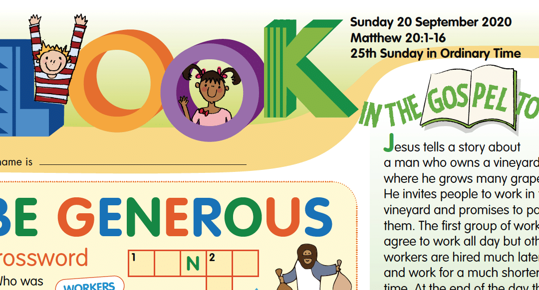 LOOK Children's Fun Activity Sheets for Sunday 20th Sept