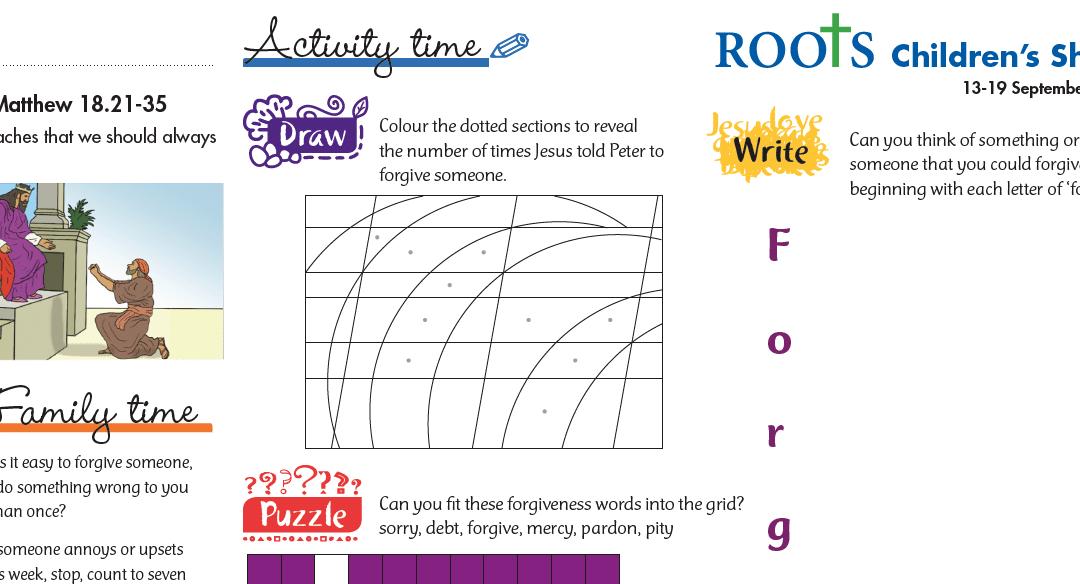 Roots Children's Sheet 13th Sept