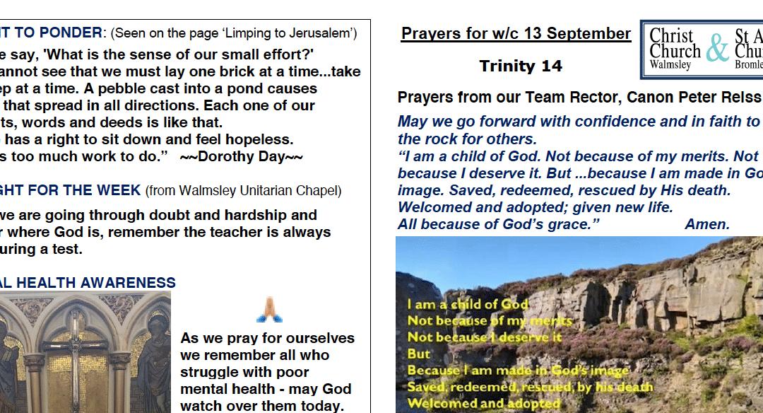Prayer Booklet from Walmsley Parish Sunday 13th Sept