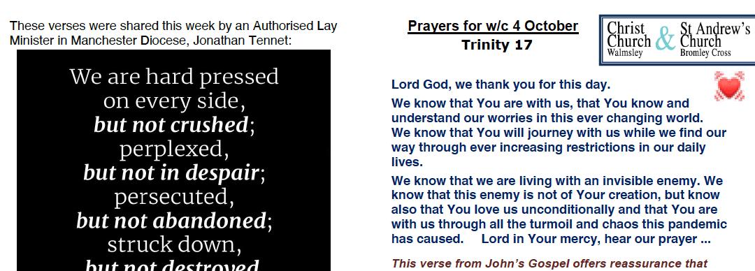 Prayer Booklet from Walmsley Parish Sunday 4th Oct