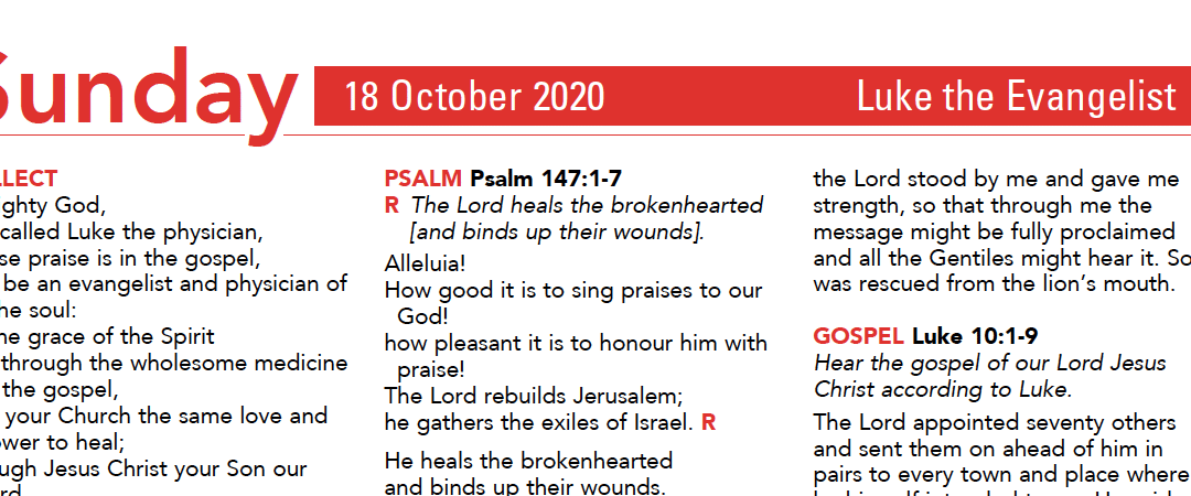 Liturgy Pew Sheet for Sunday 18th Oct