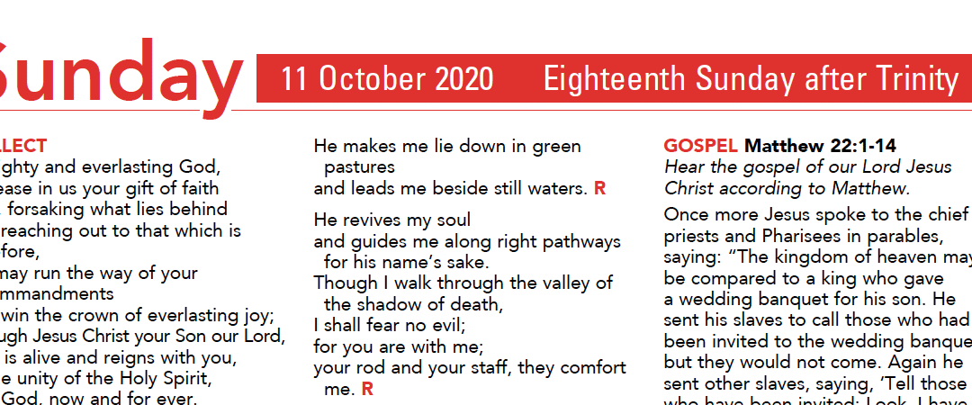 Liturgy Pew Sheet for Sunday 11th Oct