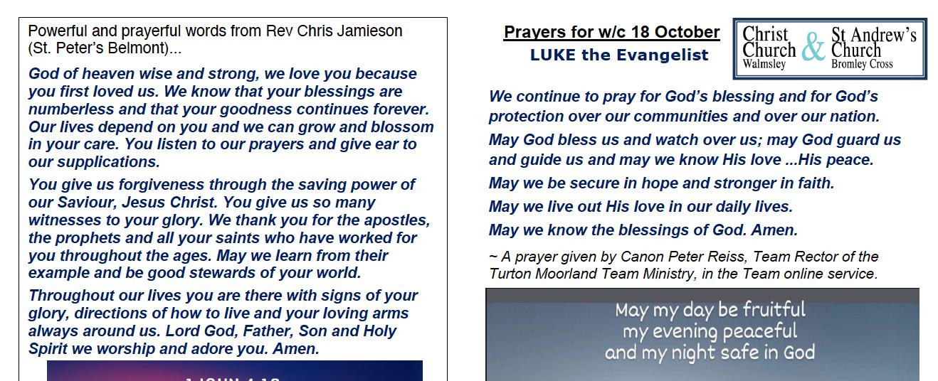Prayer Booklet from Walmsley Parish Sunday 18th Oct