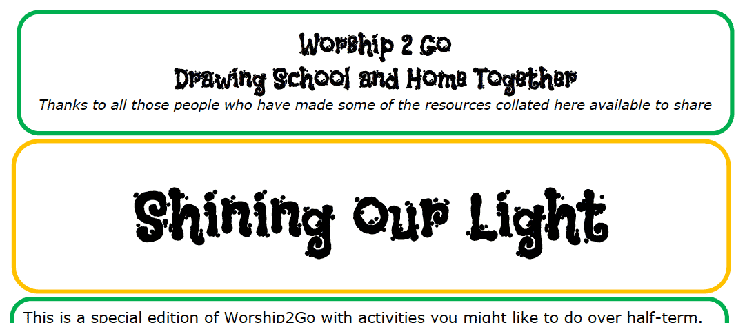Worship 2 Go Activities for Half Term 25th Oct