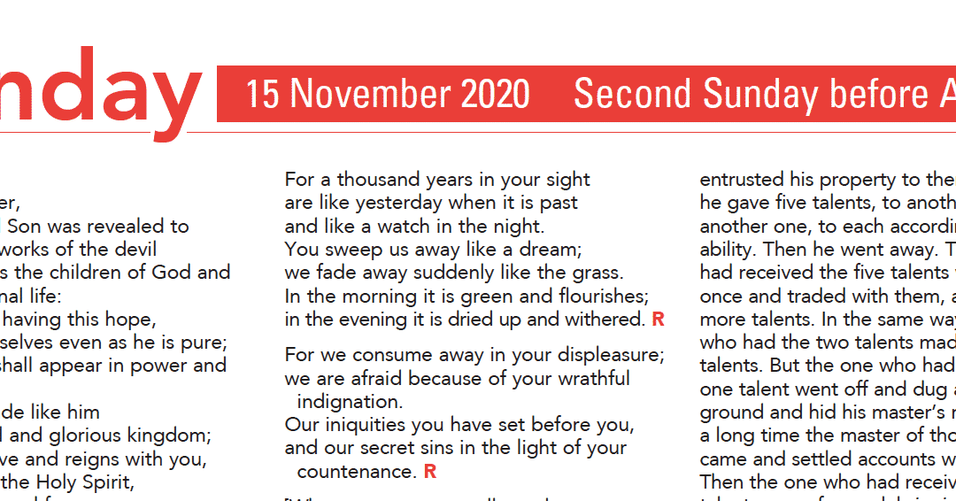 Liturgy Pew Sheet for Sunday 15th Nov