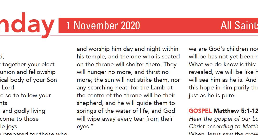 Liturgy Pew Sheet for Sunday 1st Nov