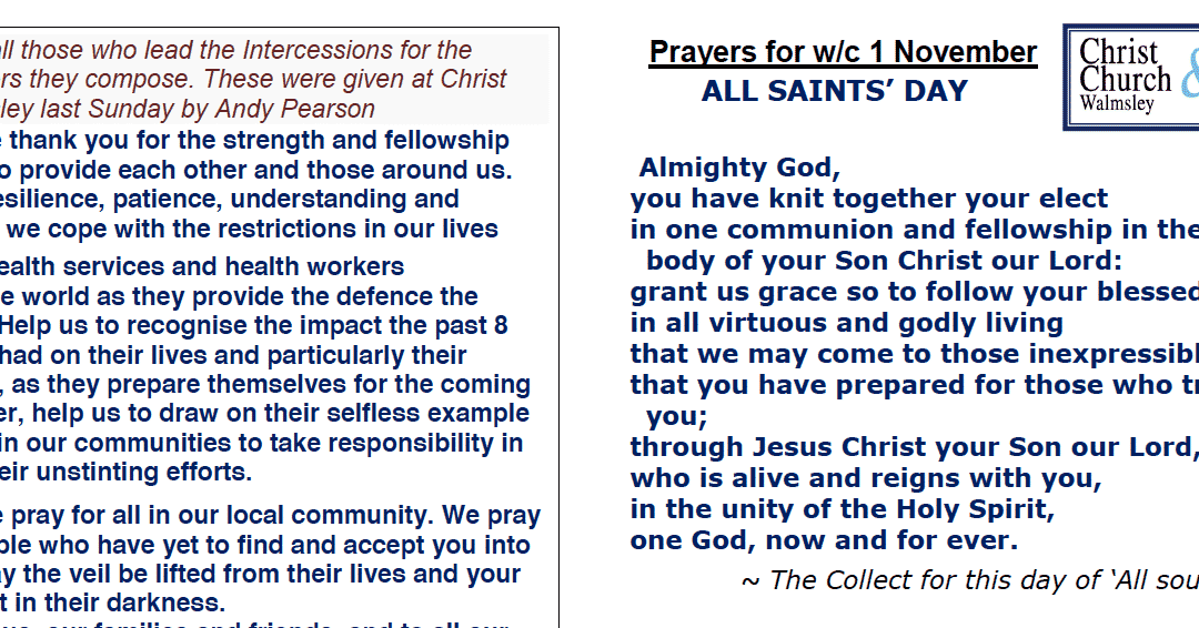 Prayer Booklet from Walmsley Parish Sunday 1st Nov