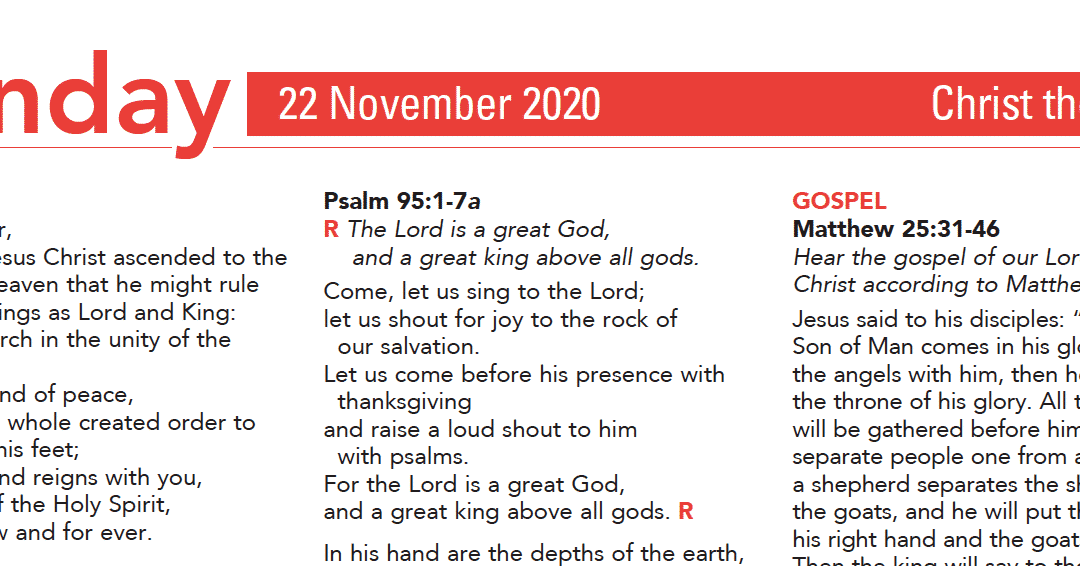 Liturgy Pew Sheet for Sunday 22nd Nov