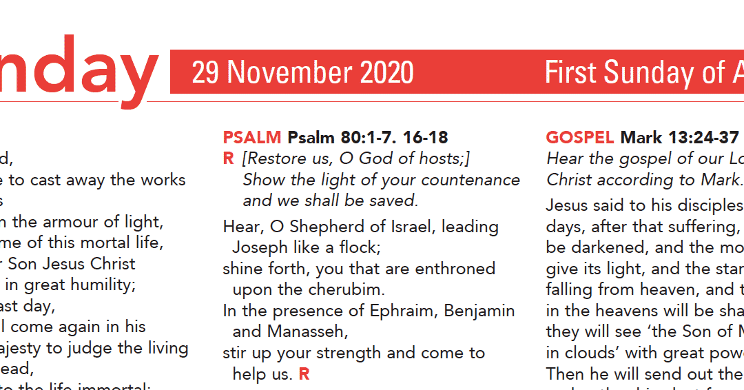 Liturgy Pew Sheet for Sunday 29th Nov