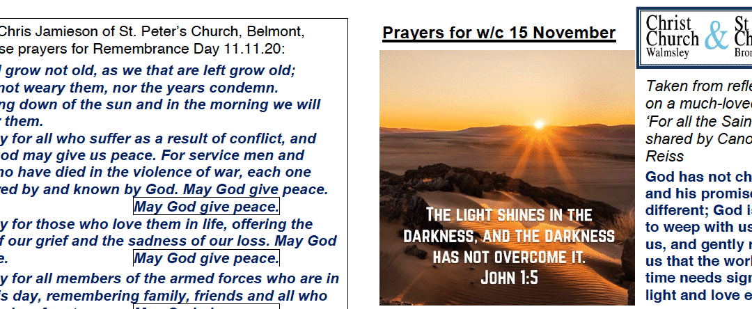 Prayer Booklet from Walmsley Parish Sunday 15th Nov