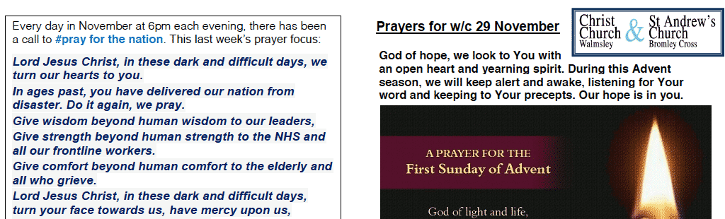 Prayer Booklet from Walmsley Parish Sunday 29th Nov